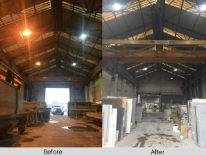 An image of Natural Granite Before and After LED factory lighting
