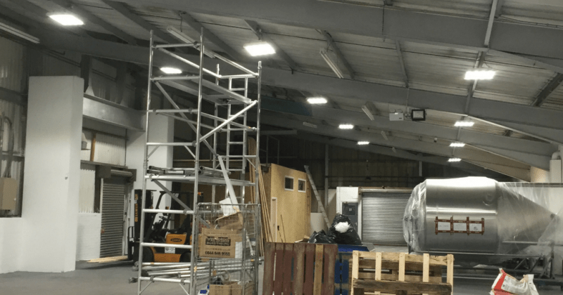 Owled's 150W Linear Bay warehous lighting installed in Harris Trucking's Warehouse