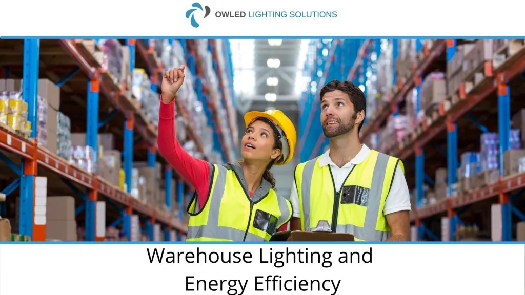 Warehouse workers looking at warehouse lighting