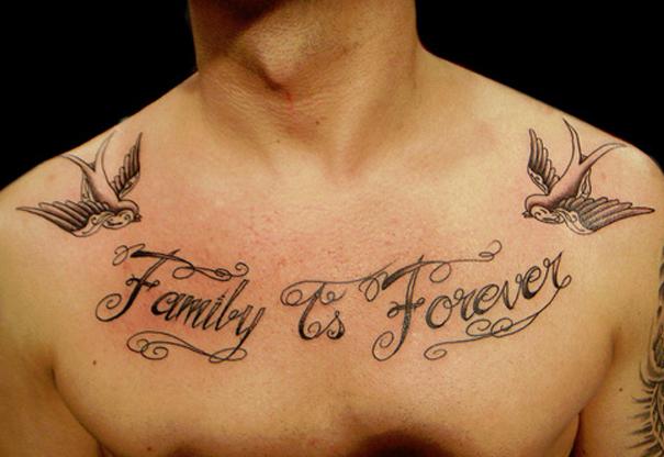 Hình xăm chữ Family is forever