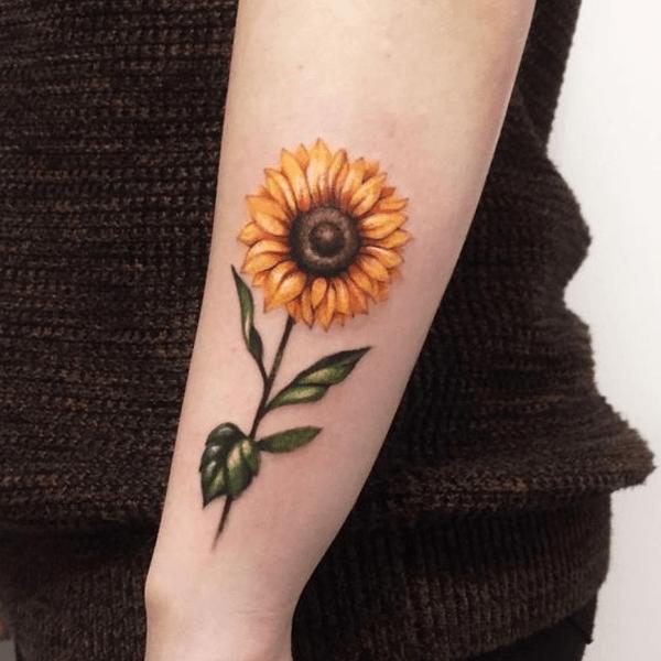 Hình xăm hoa hướng dương chân thực trên cánh tay