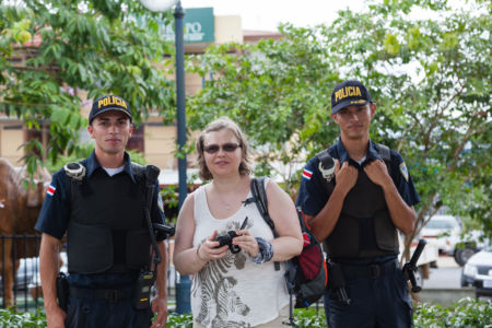 Posing with policemen