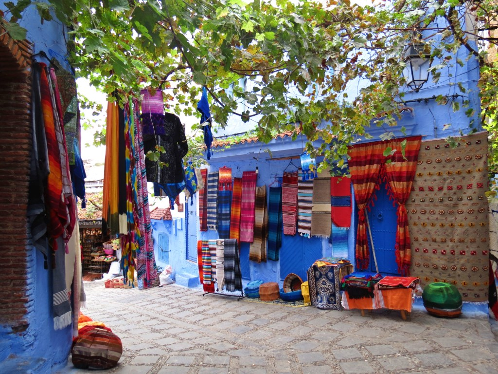 shopping in chefchaoen, morocco