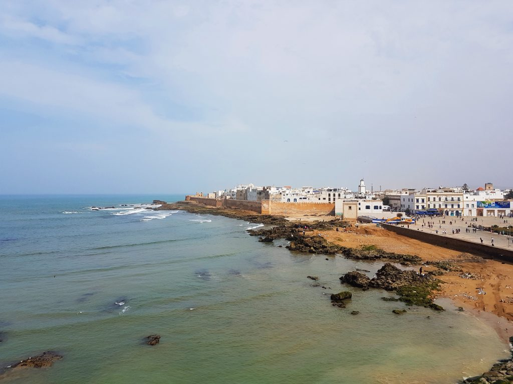 A view of Essaouira's Medina and the Atlantic Ocean