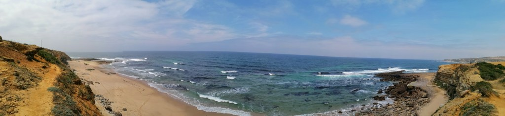 Panoramic view of Mil Regos beach in Ericeira