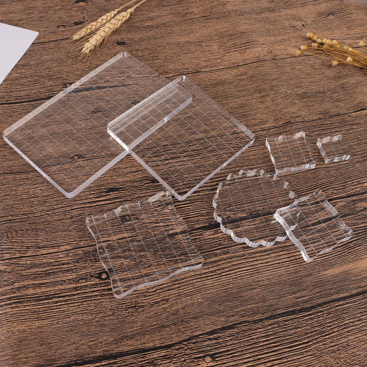 Clear Acrylic Blocks For Stamps 7 Pieces