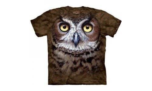 The Mountain Great Horned Owl Head T-shirt