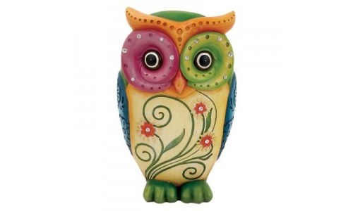 Colorful Resin Owl Sculpture 10 Inches