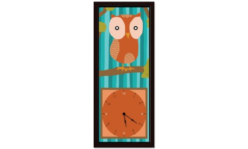 Decorative Orange Owl Clock