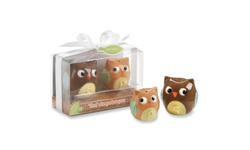Ceramic Mother and Baby Owl Salt and Pepper Shakers
