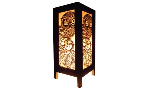 Vintage Handmade Asian Owl Paper Lamp
