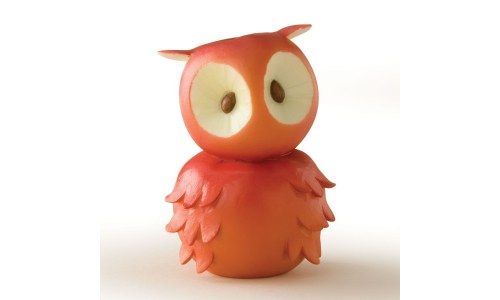 Home Grown Red Apple Owl Figurine