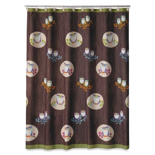 Cute Owl Printed Microfiber Owl Shower Curtain
