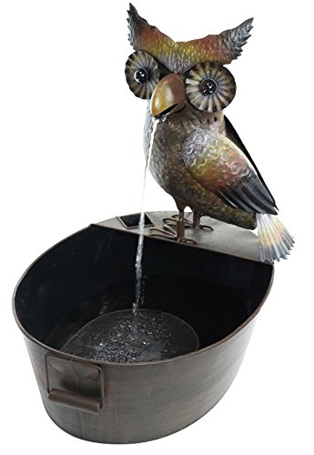 Hand Glazed Porcelain Owl Fountain
