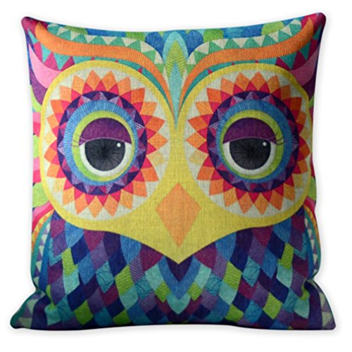 Vintage Pop Owl Pillow, Sofa, Throw, Unique Gift Pillow