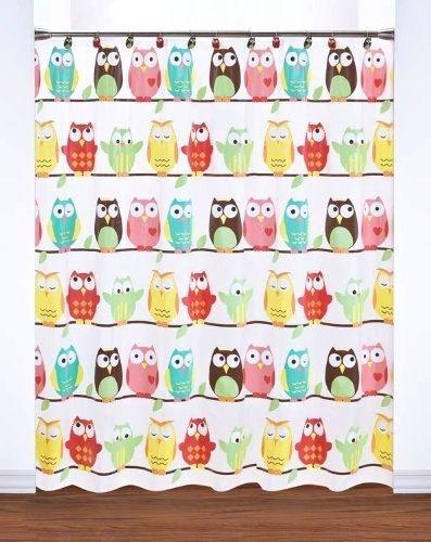 Cheerful Vinyl Owl Shower Curtain Bathroom Decor