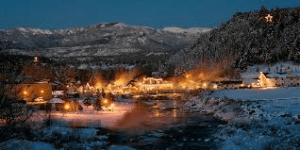 pagosa springs illuminated at night