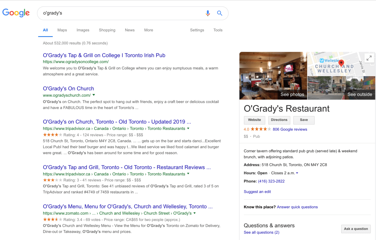 Example of how online reviews left for a restaurant by customers show up in Google search.