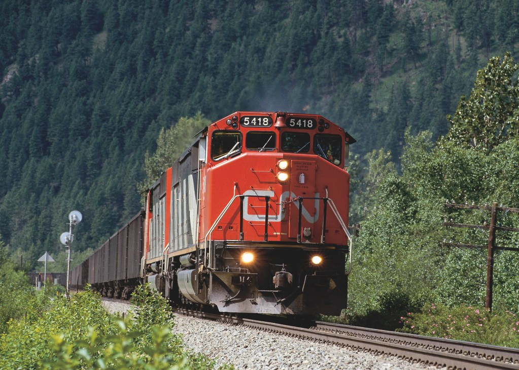 Image of a CN rail train in Blue River, British Columbia.