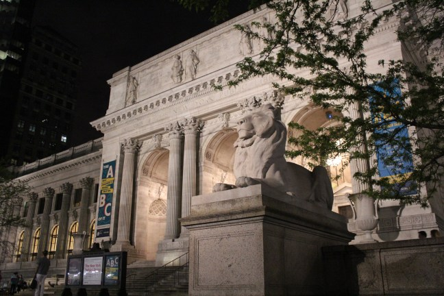 """The famous library lions, named """"Patience"""" and """"Fortitude."""""""