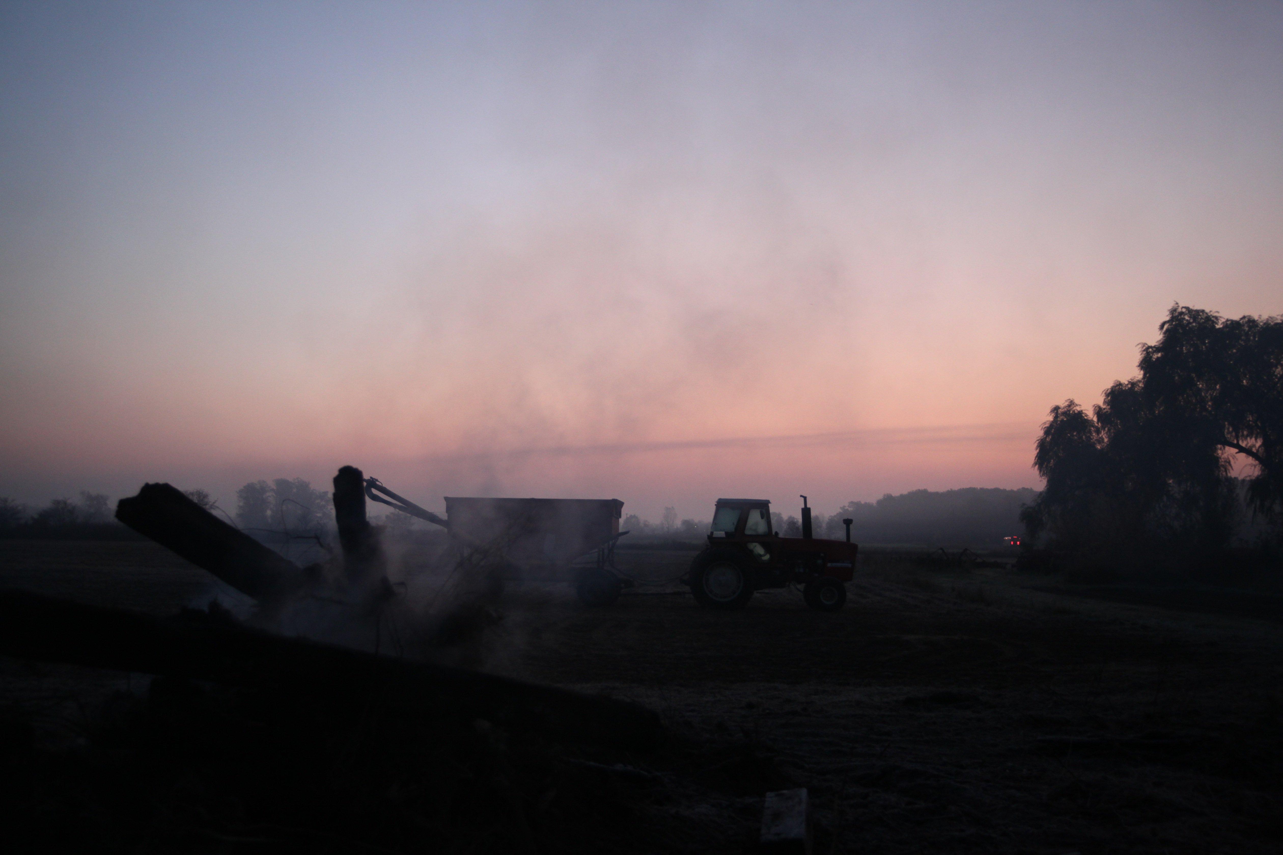 smoldering pile @ dawn