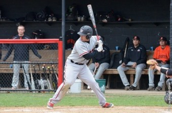 Freshman outfielder Michael Blatchford stares down the Ohio Northern pitcher. Photo courtesy of battlingbishops.com.