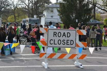 Rowland Avenue was shut down for Rock the Block, a two-hour event featuring a band, food trucks, lawn games, and more. Photo courtesy of Spenser Hickey.