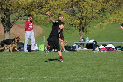 Schurer moments after throwing a flying disc at an Ultimate game. Photo courtesy of Facebook.