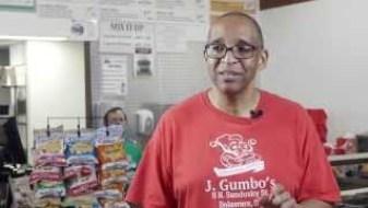 Richard Upton, owner of Delaware's J.Gumbo's, in his restaurant. Photo courtesy of youtube.com.