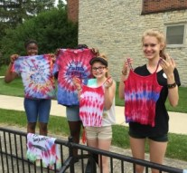 Summer in April for the students to tie and dye