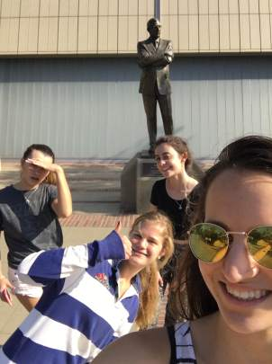 Posing with John Wooden