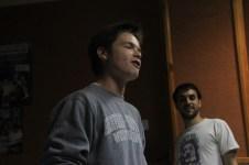 A student performs an original rap