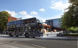 The BROOKESbus next to the John Henry Brookes Building