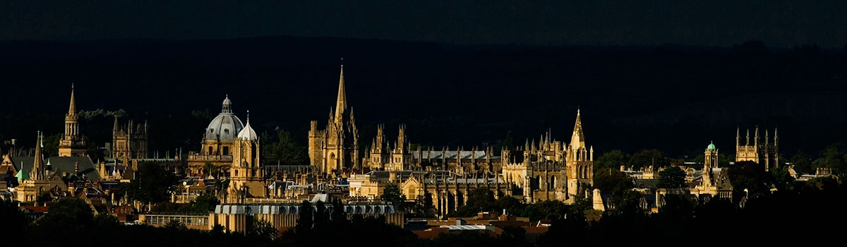 Oxford spires skyline at night, dramatically lit