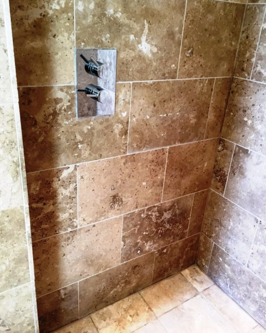 Damaged Limestone Shower Wall West Hanney After