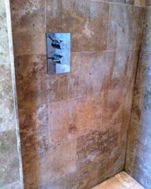 Damaged Limestone Shower Wall West Hanney Before