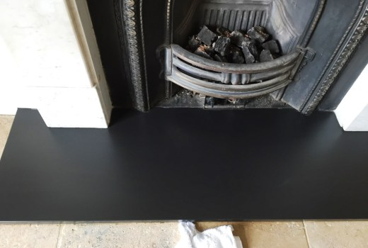 stained slate fireplace hearth Boars Hill After
