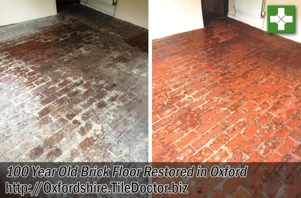 Brick Floor Before and After Restoration Oxford