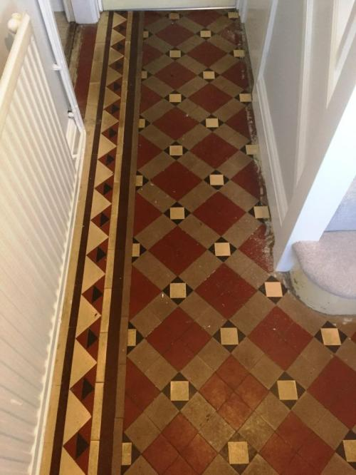 Carpet Covered Victorian Tiled Floor Before Cleaning Oxford