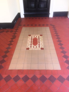 Large Victorian Quarry Tiled Porch After Cleaning Sutton Courtenay