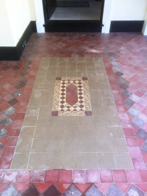 Large Victorian Quarry Tiled Porch Before Cleaning Sutton Courtenay