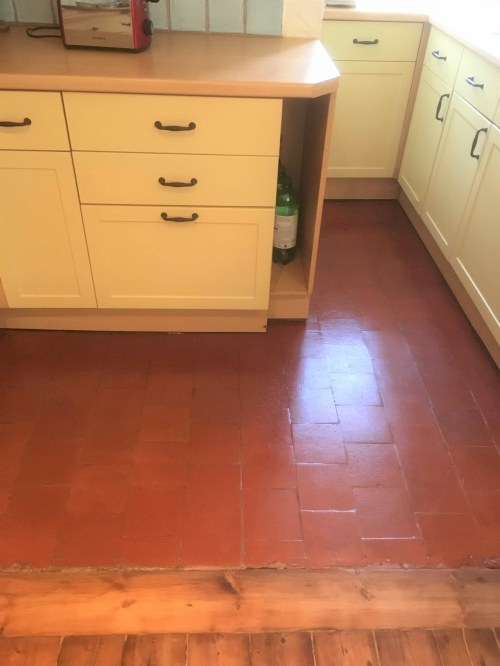 Quarry Tiled Kitchen Floor After Restoration Gloss Sealer Old Marston