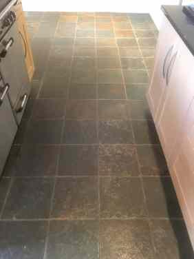 Coloured Slate Floor Tiles Before Cleaning Abingdon