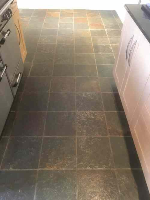 Coloured Slate Floor Tiles Before Cleaning Abingdon