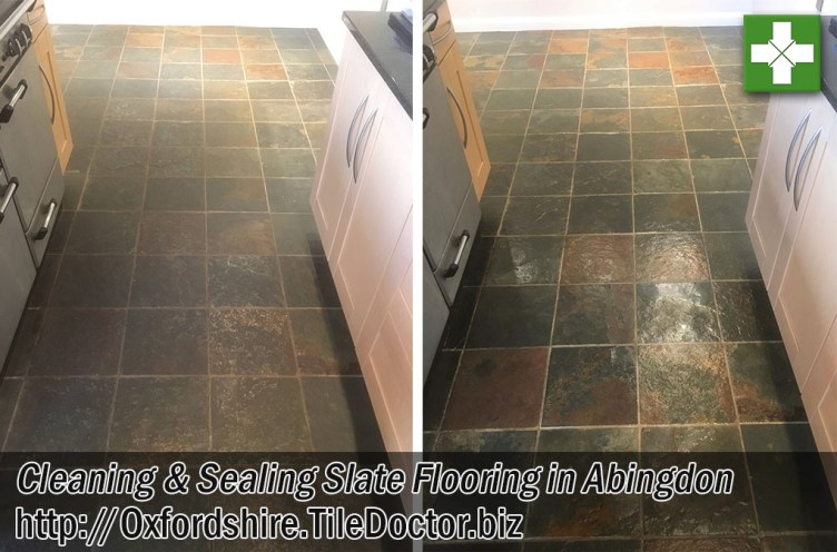 Slate Tiled Floor Before After Cleaning Abingdon