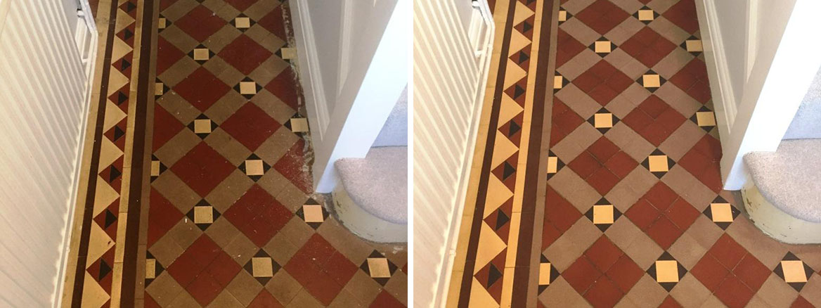 Carpet Covered Victorian Tiled Floor Before After Cleaning Oxford