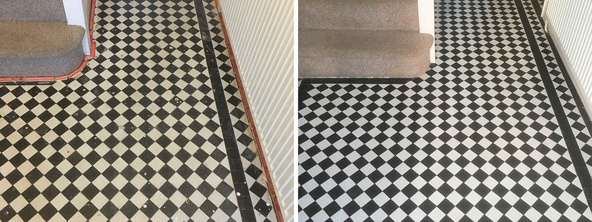 Chequered Victorian tiled hallway Floor Oxford Before After Restoration