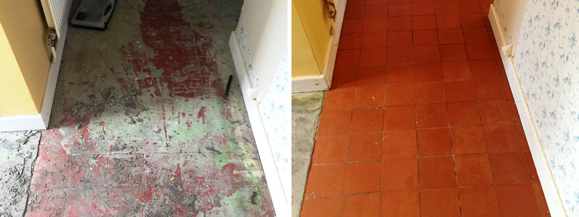Quarry Tiled Floor Oxford Before After Restoration