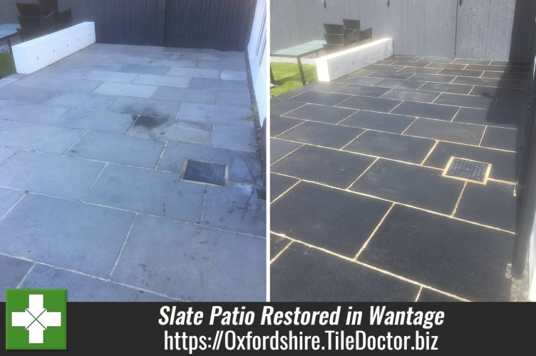 Large Slate Tiled Patio Before and After Restoration Wantage
