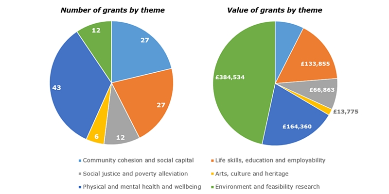 Pie chart showing number and value of grants by theme 2014-15